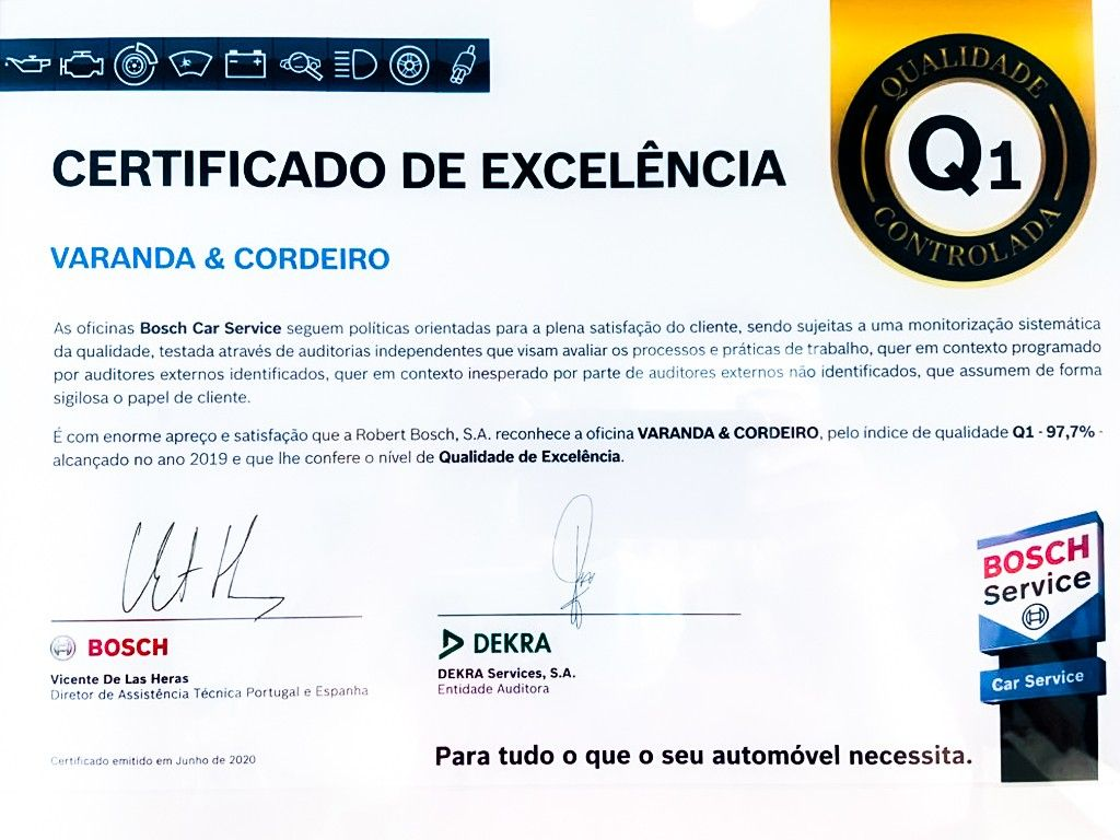 Certificado Excelencia Bosch Car Service